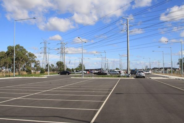 Transmission lines pass over the South Morang car park