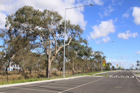 South Morang car park, with the old railway reservation along side