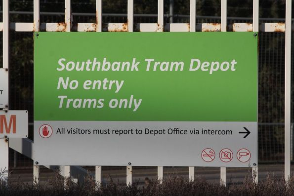'No photography' icon on the sign outside Southbank Tram Depot