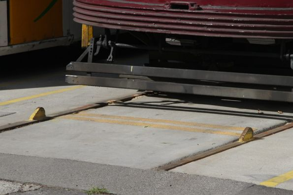 Steel nubs bolted to the rails at the Southbank depot dead end stabling roads