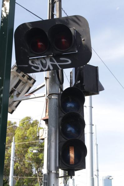 Point indicator and 'STOP' indication for citybound trams at Montague Street tram stop