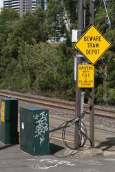 'Beware Tram Depot' sign at the south end of Southbank depot