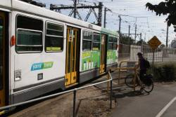 Cyclists have to wait for shunting trams at each end of Southbank depot