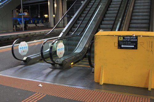 'Escalator out of order - use stairs'. What stairs?