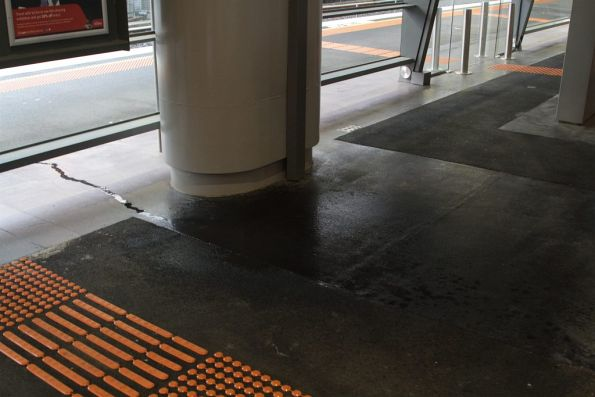 Water leaks at the north end of the brand new platform 15 and 16