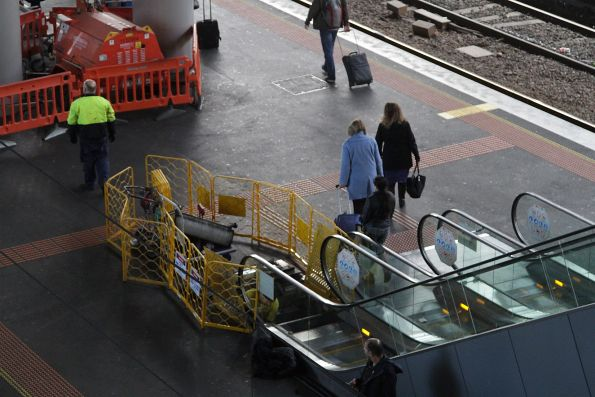 Escalator under repair at Southern Cross Station