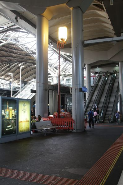 Portable lights still in use at Southern Cross platform 13 and 14