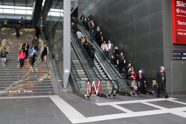 One out of three escalators out of service at the Bourke Street entrance to Southern Cross