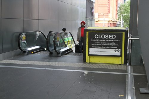 Failed escalator linking the Bourke Street Bridge to Spencer Street