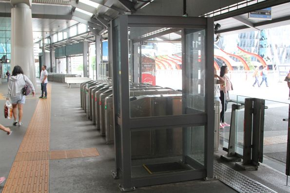 Heated booth on the Bourke Street concourse to shelter barrier staff from the cold