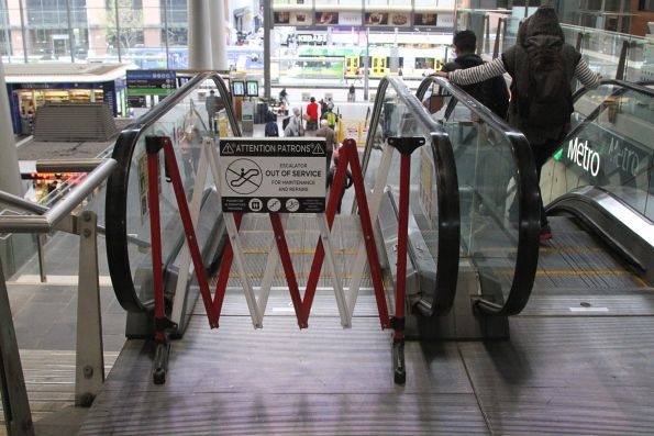 Defective escalator down from the Collins Street concourse at Southern Cross Station