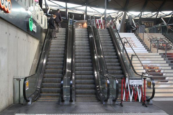 Defective escalator at the Collins Street end of Southern Cross Station