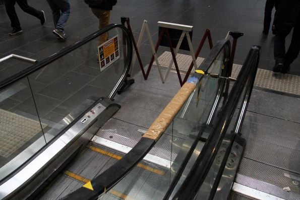 Broken escalator handrail on the Collins Street concourse