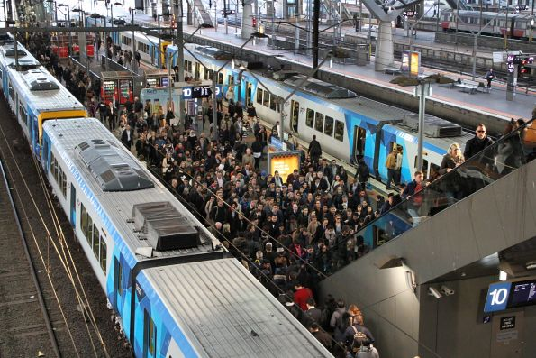 Overcrowded platforms 9 and 10 at Southern Cross Station