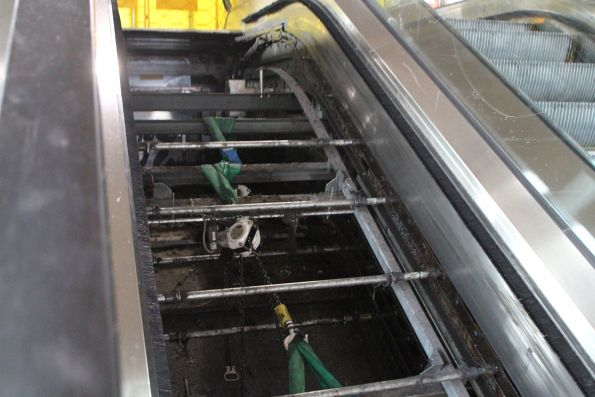 Innards of the broken escalator at Southern Cross platform 13 and 14