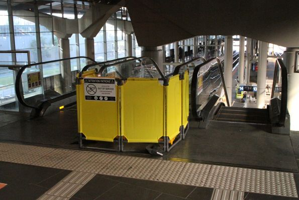 Escalator leading to Southern Cross platform 13 and 14 still out of service, but now being repaired