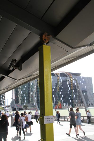 Temporary steel struts used to support the cantilevered veranda on the Bourke Street Bridge