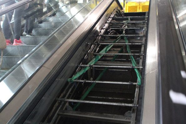 Still trying to fix the broken escalator at Southern Cross platform 13 and 14