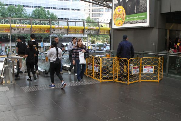 Escalator under repair on the Collins Street concourse at Southern Cross Station