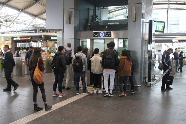 Passengers waiting to access Southern Cross platform 9 and 10 have to use the lift
