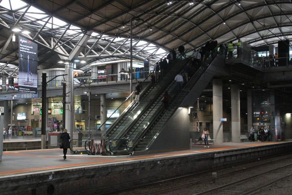 One of the escalators to Southern Cross platform 9 and 10 has been fixed, the other still to come