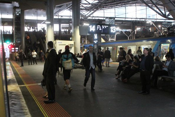 Dim lighting down at Southern Cross platform 13 and 14