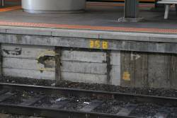 Another damaged section of concrete platform face at Southern Cross