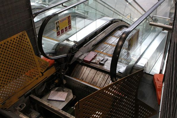 Broken down escalator under repair on the main Collins Street concourse