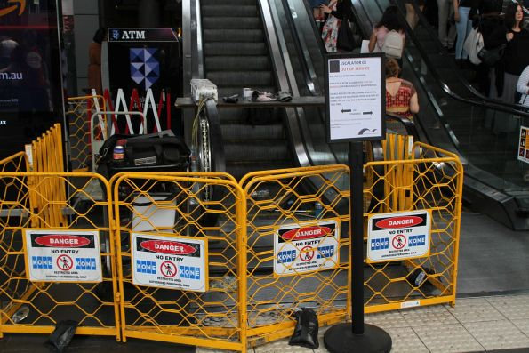 Broken down escalator at the main entrance still under repair