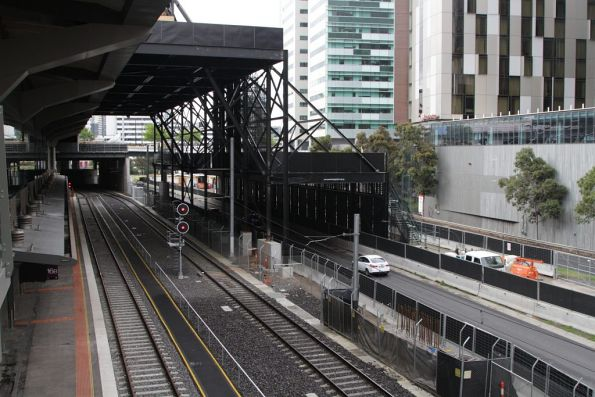 Steel gantry in place over the westernmost tracks, as well as Wurundjeri Way