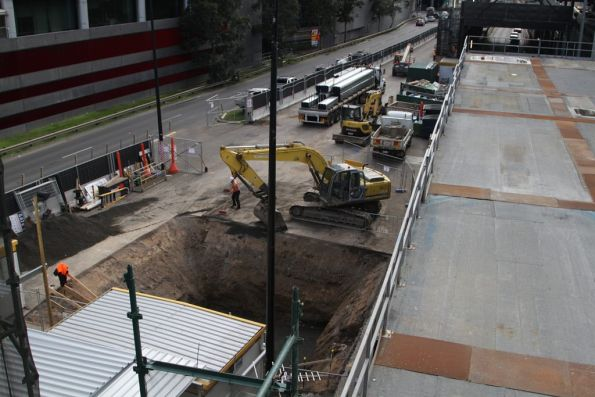 Digging up the middle of Wurundjeri Way, related to the 664 Collins Street development atop Southern Cross Station