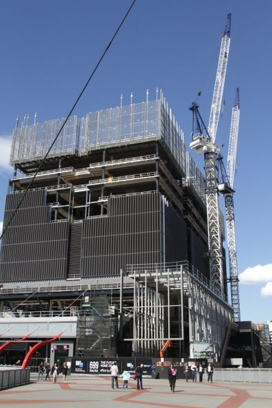 Dozen or so floors in place for the 699 Bourke Street development atop Southern Cross Station