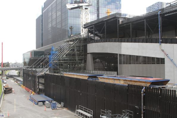 Work on the 664 Collins Street project atop Southern Cross Station platforms 13-16