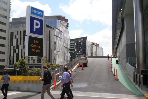 Vehicle ramp leading to the car park at 664 Collins Street