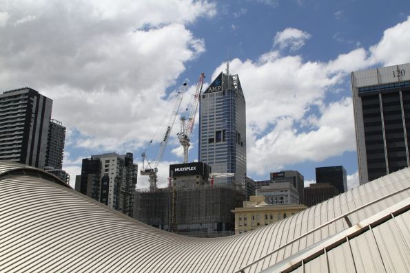 Looking out over the Southern Cross Station roof from 664 Collins Street