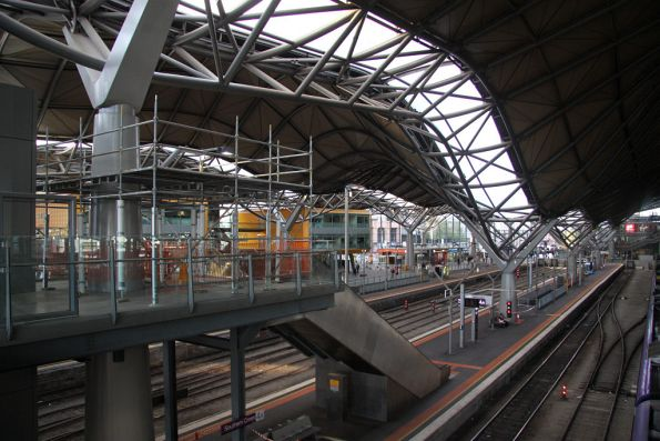 Temporary scaffolding above platform 3/4 pending roof repairs