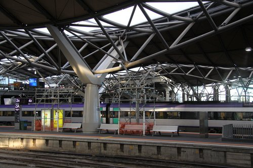 Temporary scaffolding above platform 3/4 pending roof repairs for the storm a few months ago