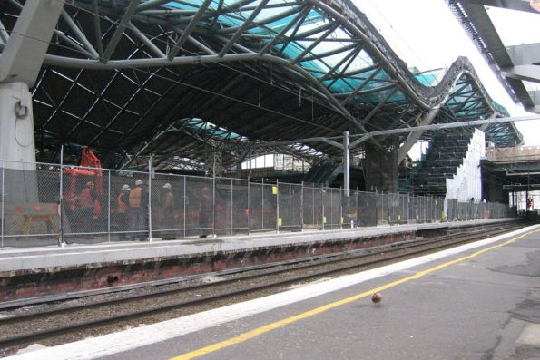 Platform 11/12 being rebuilt, as work continues on the roof above