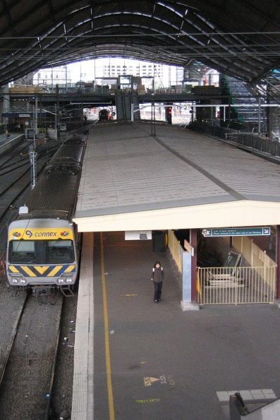 Platform 9 and 10 still with original awning, viewed from the Bourke Street bridge