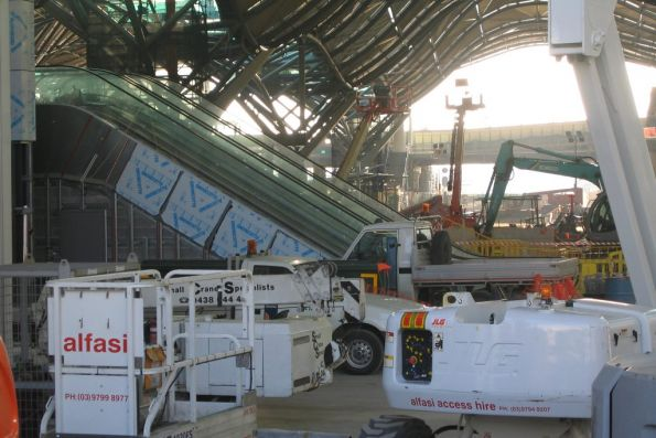 Work continues on the main entry and concourse