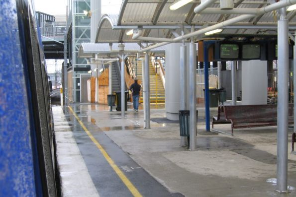 Temporary passenger shelters at platform 13 and 14