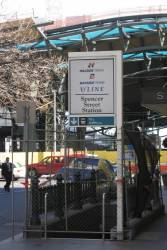 Hillside Trains, Bayside Trains and V/Line logos on the sign above the closed Little Collins Street subway to Spencer Street Station