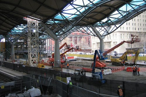 Work continues on the main concourse
