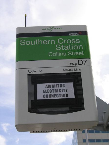 New Southern Cross Station sign on Collins Street tram stop