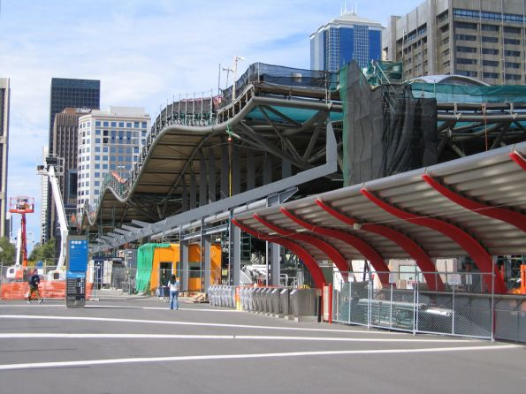 Awning on the Bourke Street bridge underway