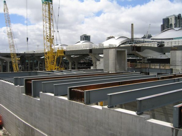 Work on the Collins Street concourse headed east