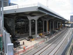 Work on the deck over platform 13-16