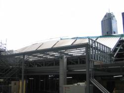 Work on the roof at the Collins Street end