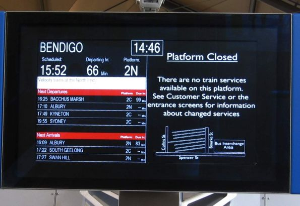 Country PIDS on platform 1/2, one platform closed, the other with a custom message