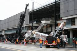 Placing escalators for the DFO shopping centre, across from Little Bourke Street